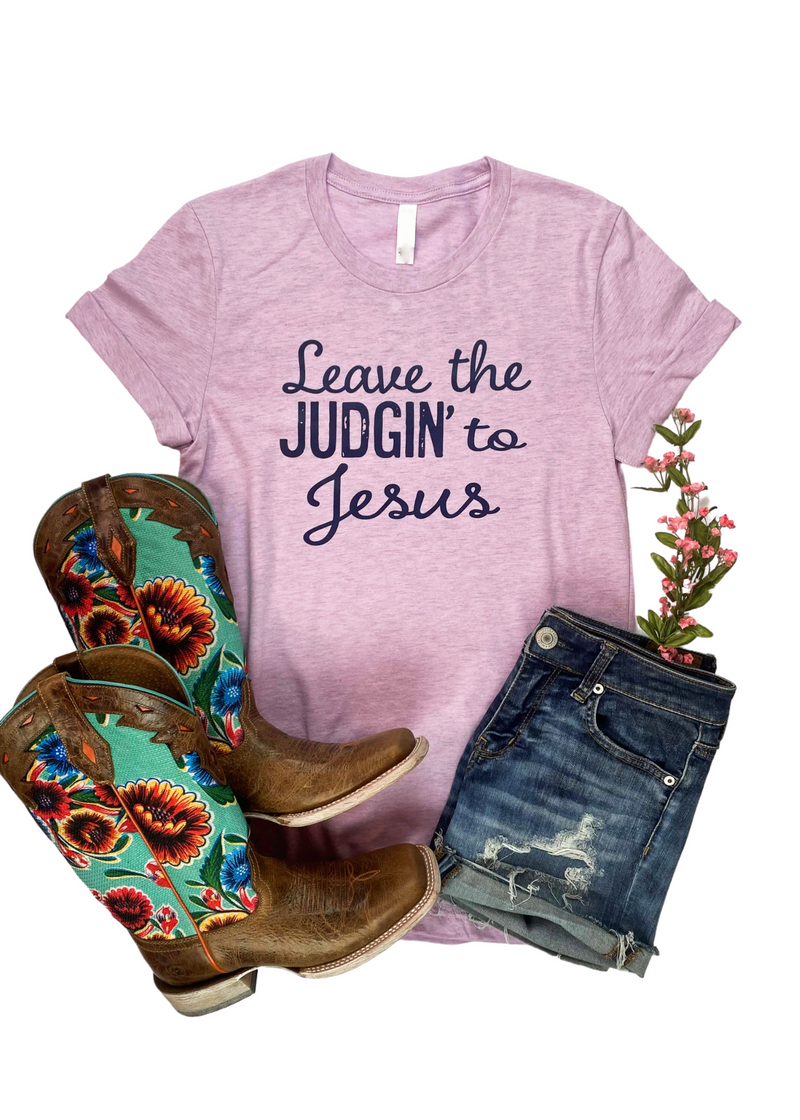 Lilac Leave the Judgin' to Jesus Short Sleeve Graphic Tee