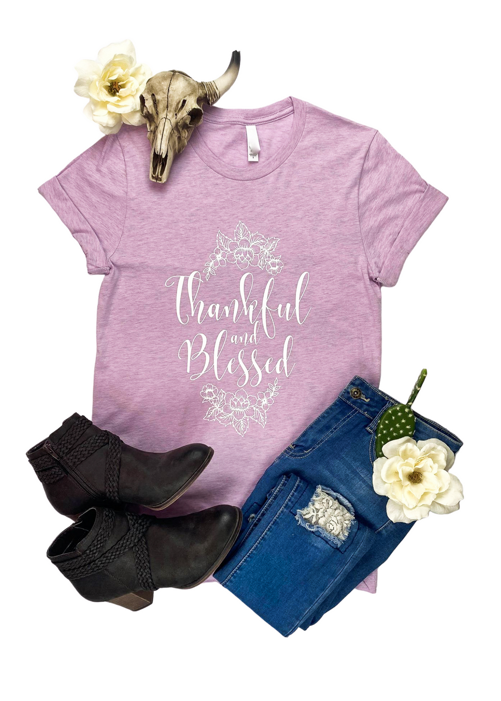 "Lilac Short Sleeve Tee with ""Thankful & Blessed"" and Floral Graphic in White Ink in the center"