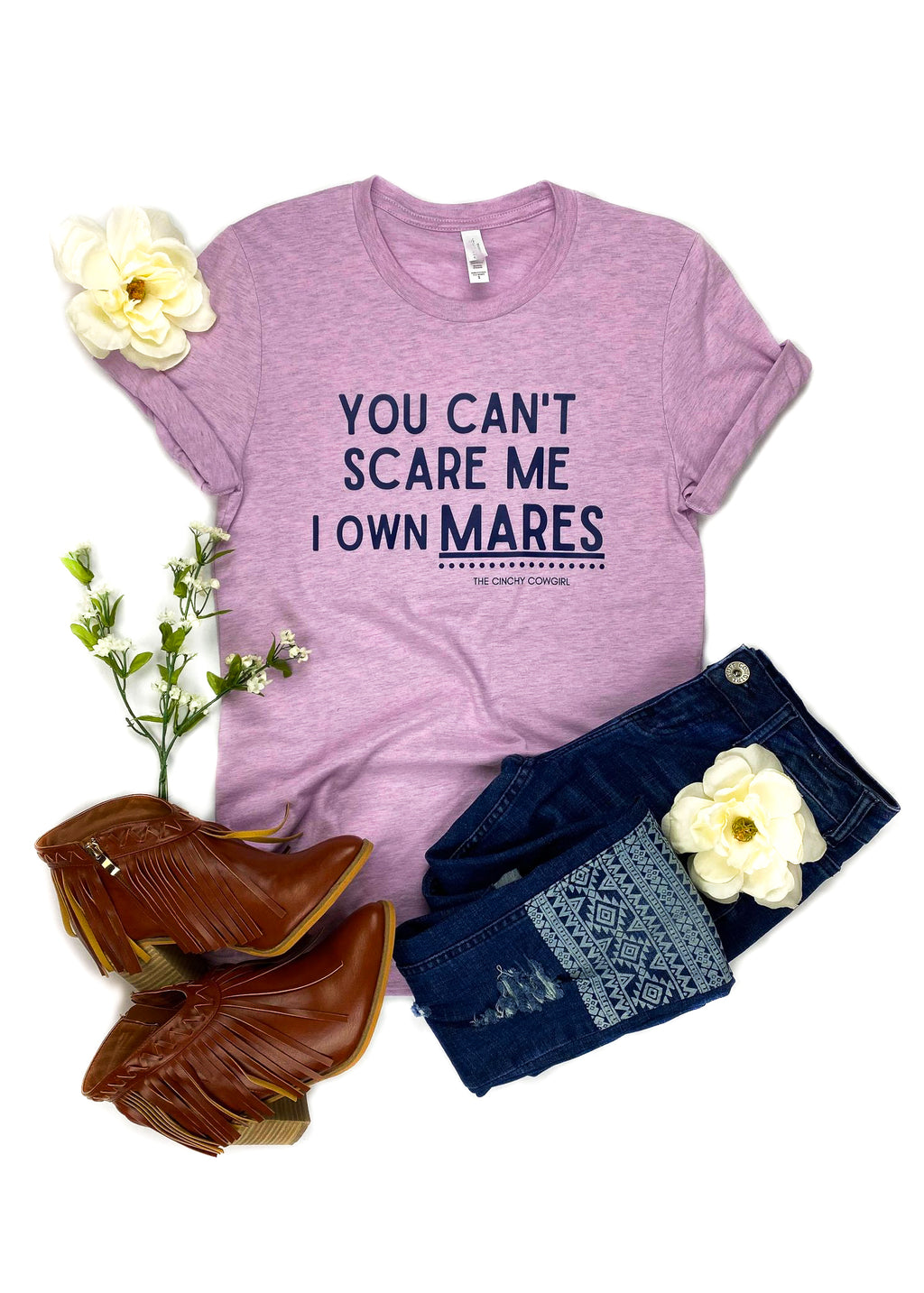 Lilac You Can't Scare Me I Own Mares Short Sleeve Tee