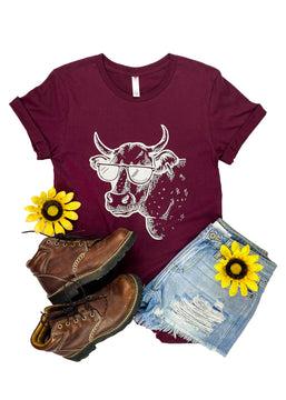 CLOSEOUT- Maroon Cool Cow Short Sleeve Tee