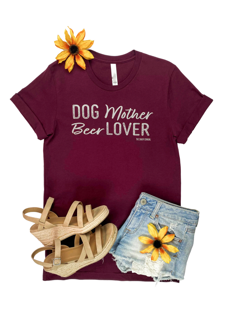 Maroon Dog Mother Beer Lover Short Sleeve Graphic Tee