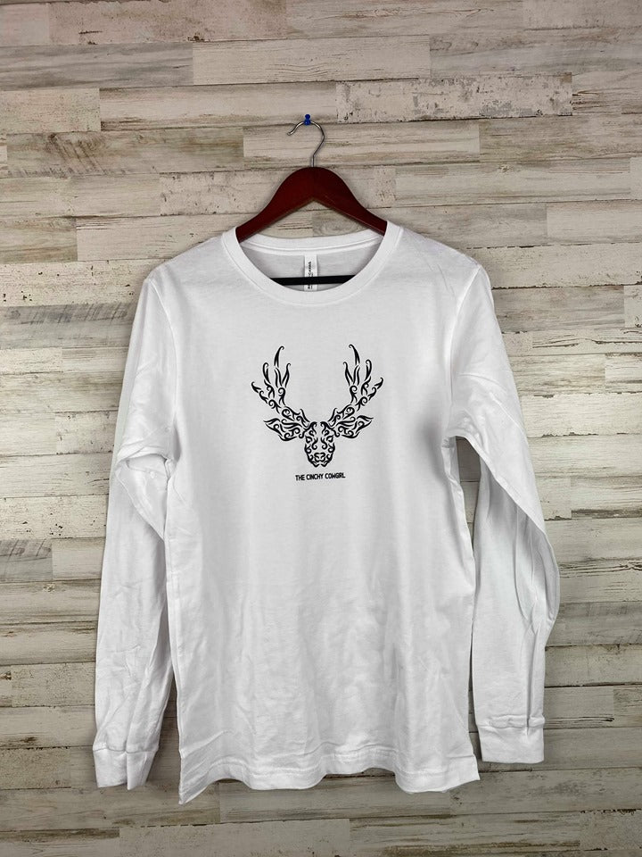 Medium White Center Deer Long Sleeve Graphic Tee