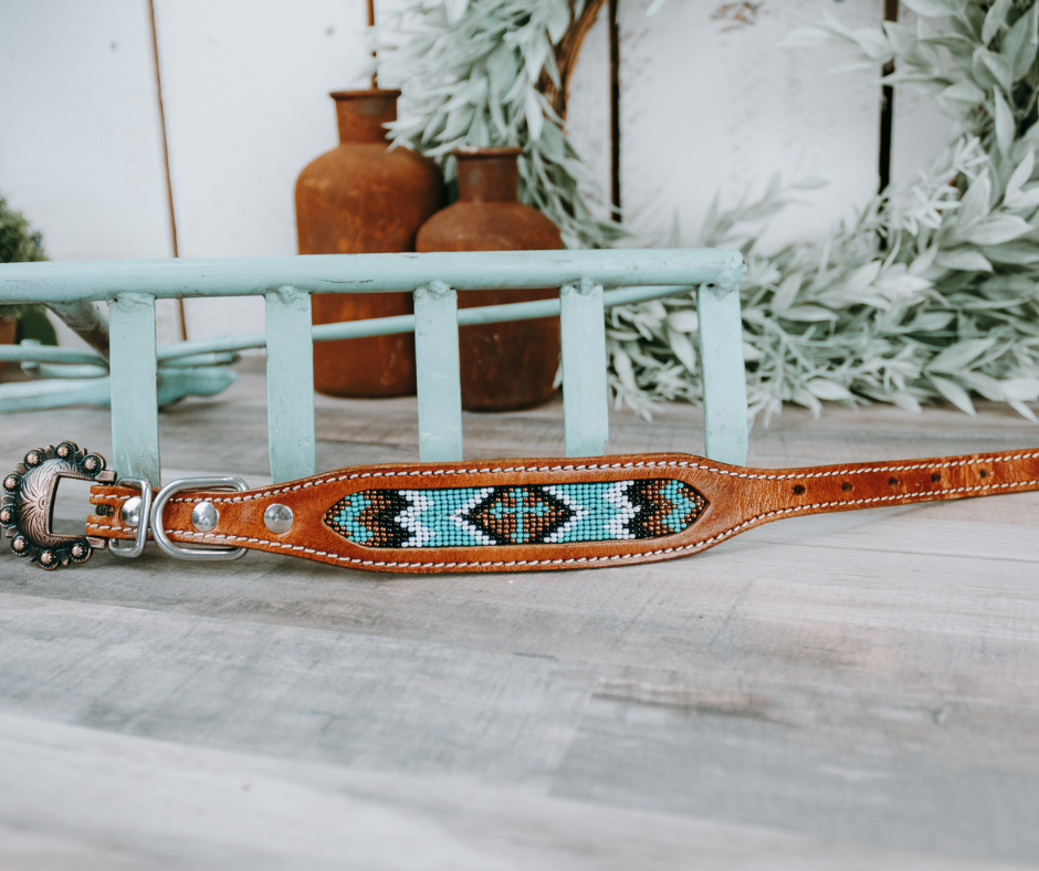 small medium and large mint and brown beaded cross dog collar with brown leather strap and designer buckle