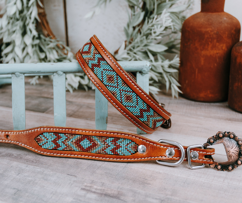 Mint & Brown Beaded Dog Collar