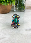 Silver & Multi Color Stone Cuff Ring with Turquoise Stone