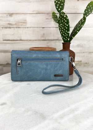 Navy Braided Embossed Wallet/Wristlet