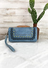Navy Braided Embossed Wallet-Wristlet