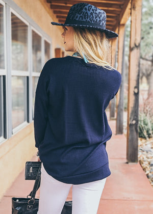 Navy Thermal Long Sleeve Top