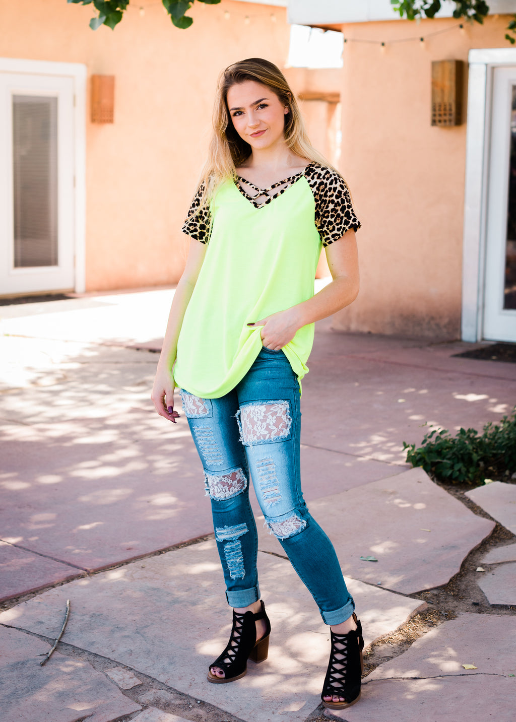 Neon Yellow Leopard Criss Cross Short Sleeve Top