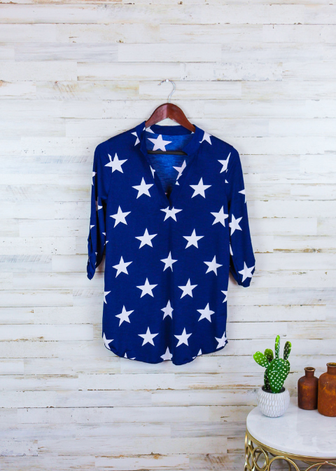 3/4 Sleeve Navy Star Print Top