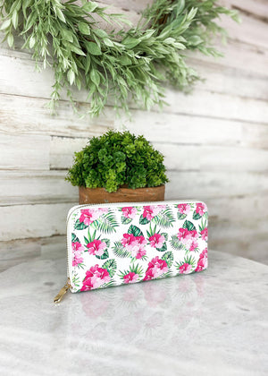 Pink & White Floral Tropical Wallet