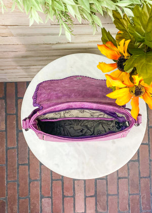 Medium Purple and Pink Crossbody With Embossed Floral Print and Whipstitched Stitching