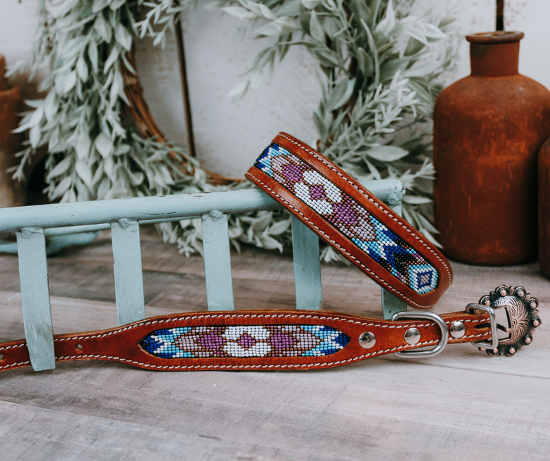 small medium and large purple and blue beaded dog collar with brown leather strap and designer buckle