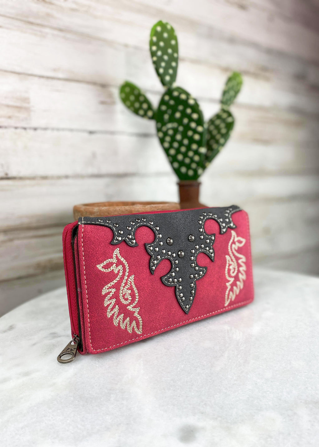 Red Embroidered Wallet