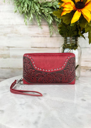 Red Colored Zip Around Wallet with Floral Tooled Detail and Lace Silver Rhinestone Trim with Wristlet Strap