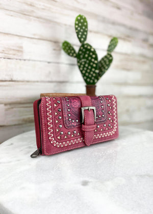 Red Western Buckle Wallet