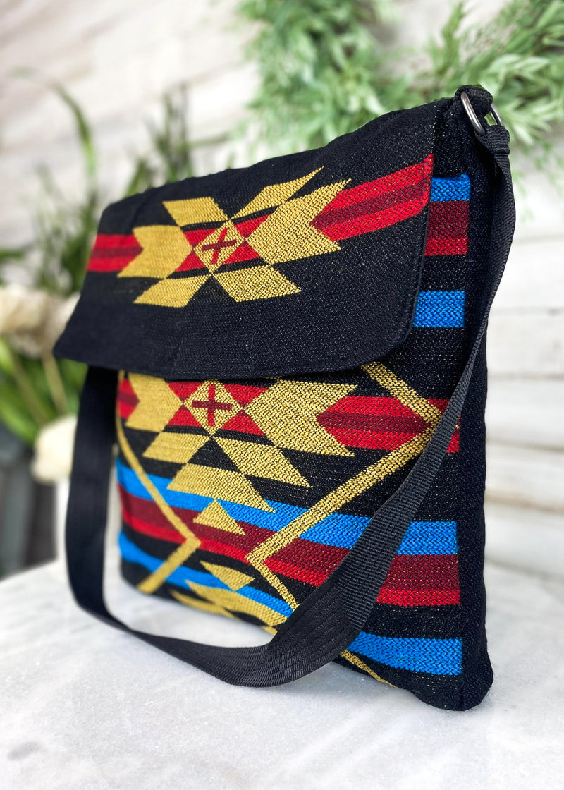 Red & Blue Aztec Shoulder Handbag