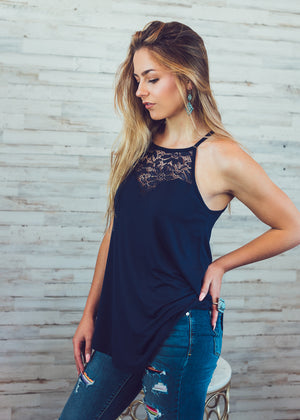 Navy Lace Halter Tank Top