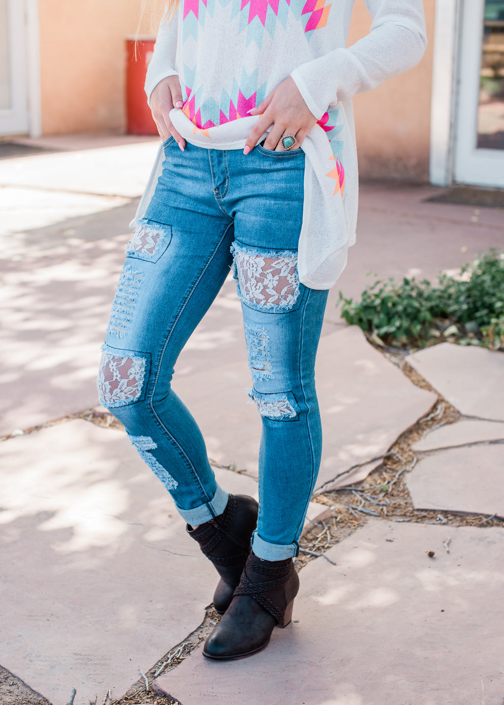 Distressed Lace Skinny Jeans