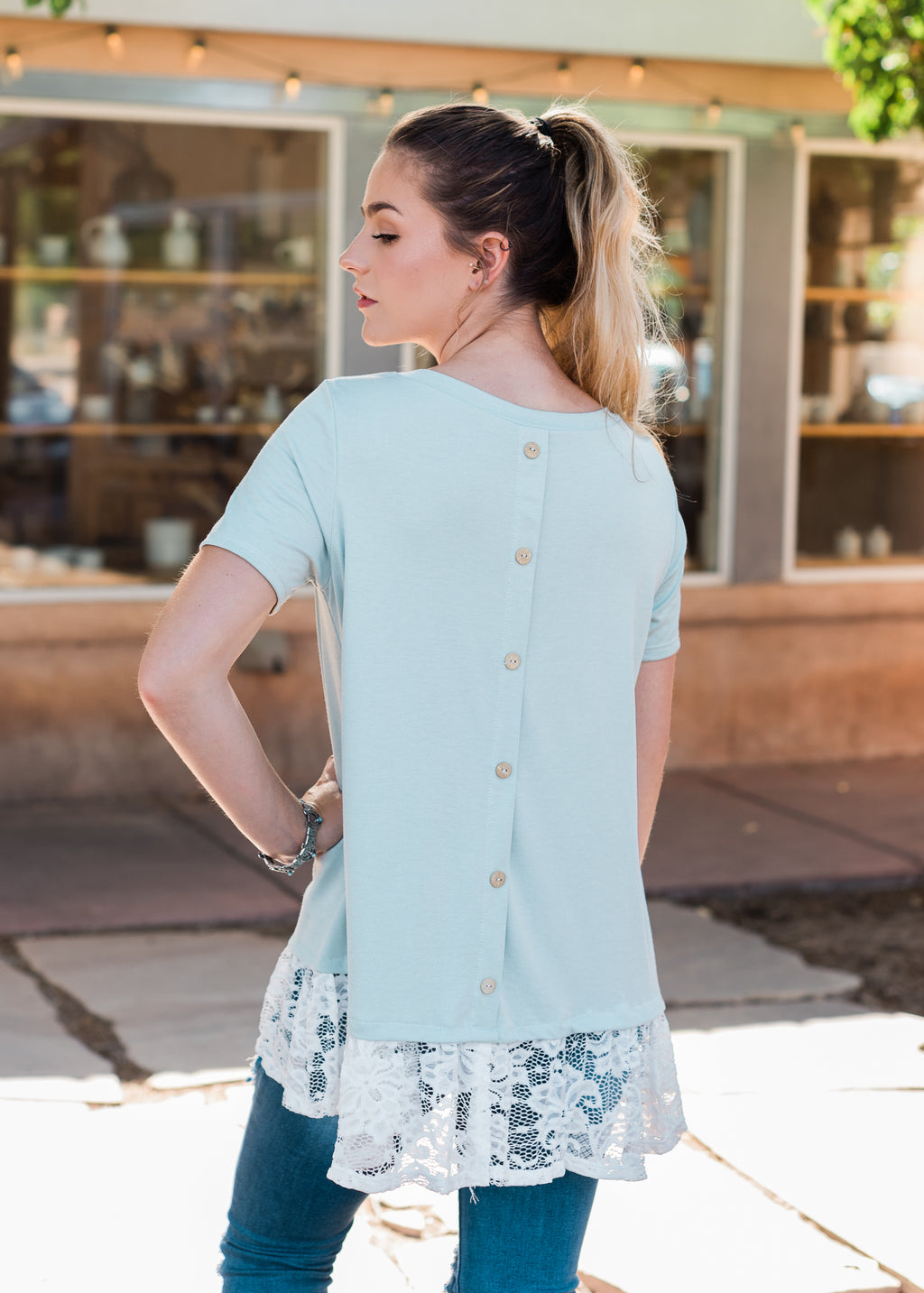 Sage Button Lace Short Sleeve Top