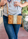 Small Tan & Brown Crossbody with Aztec Print with Wristlet Strap,Taken Outside in Natural Lighting