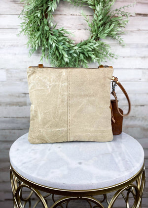 Tan Pastel Hair-On Cowhide Crossbody Handbag