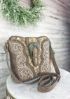 Tan Patina Buckle Concealed Carry Crossbody Handbag