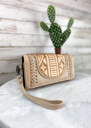 Tan Rustic Embossed Wallet/Wristlet