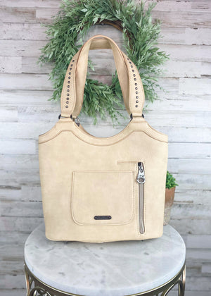 Tan Whip Stitched Concealed Carry Handbag