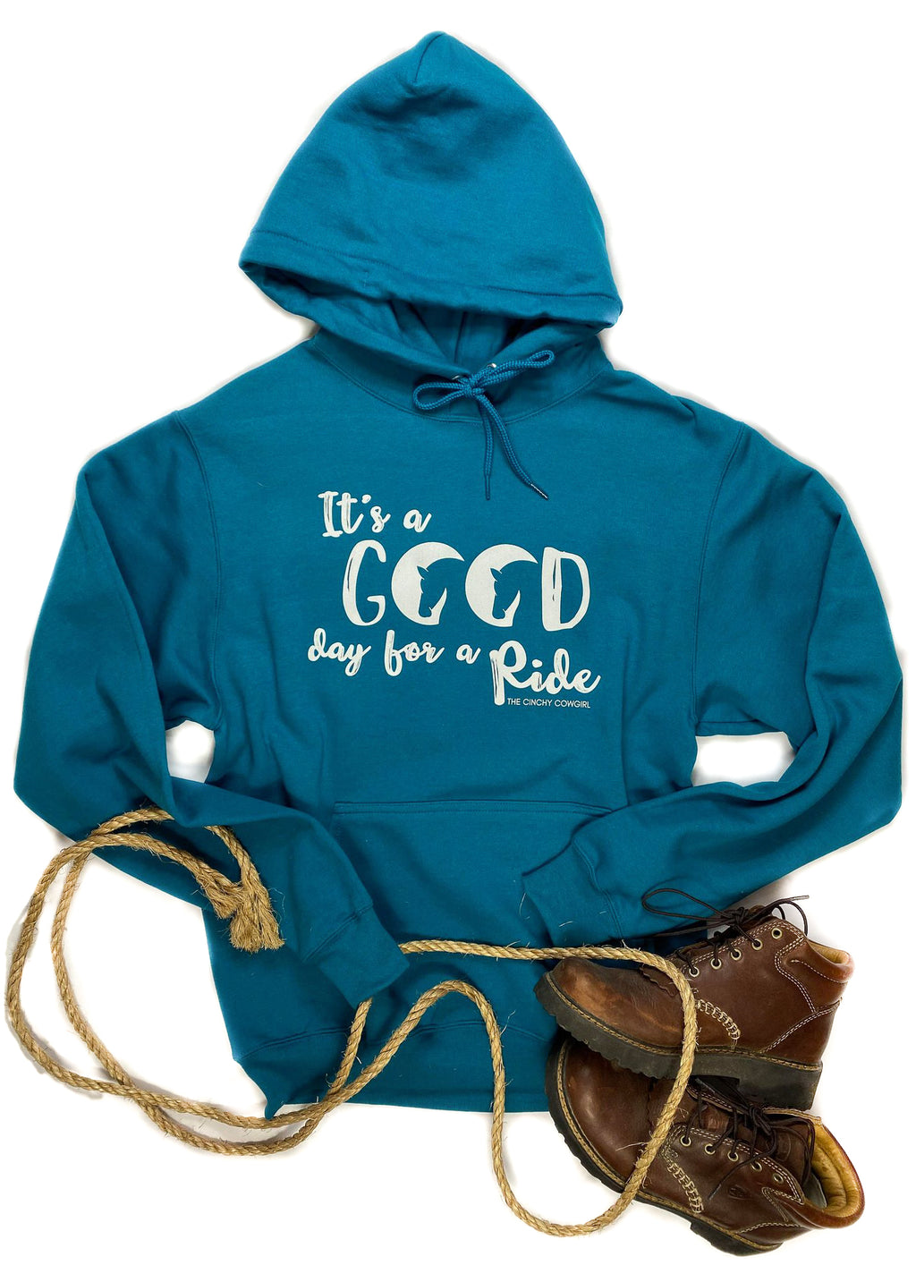 Teal Good Day For A Ride Hoodie