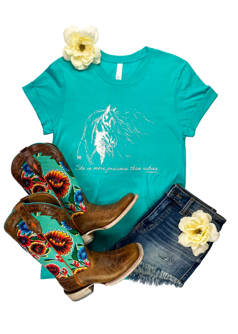 "Teal Short Sleeve Graphic Tee with ""She is more precious than rubies"" and a Horse in White Ink in the center"
