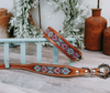 small medium and large teal and pink beaded dog collar with brown leather strap and designer buckle