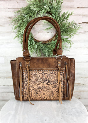 Trinity Ranch Brown Floral Tooled Tote Handbag