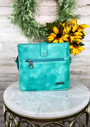 Back of Medium Turquoise Colored Crossbody with Embossed Floral Print and Back Zipper