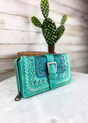 Turquoise Western Buckle Wallet