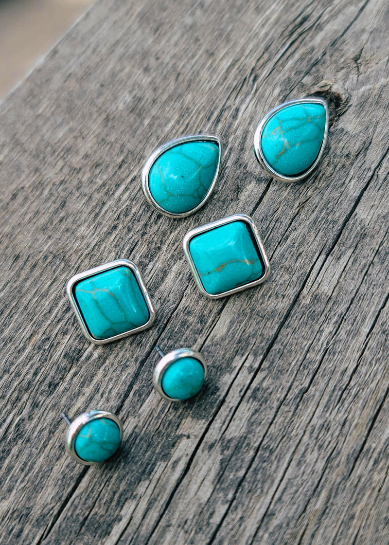 Turquoise Stone 3 Piece Earring Set Taken Outside in Natural Light