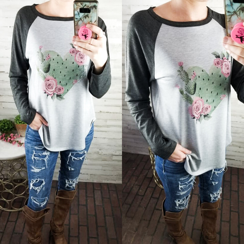 Heather Grey Heart Cactus Top