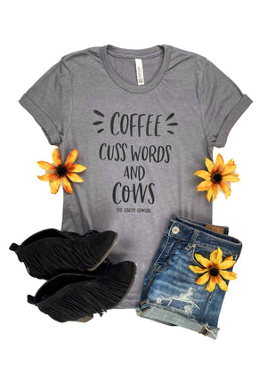Heather Grey Coffee, Cuss Words & Cows Short Sleeve Graphic Tee