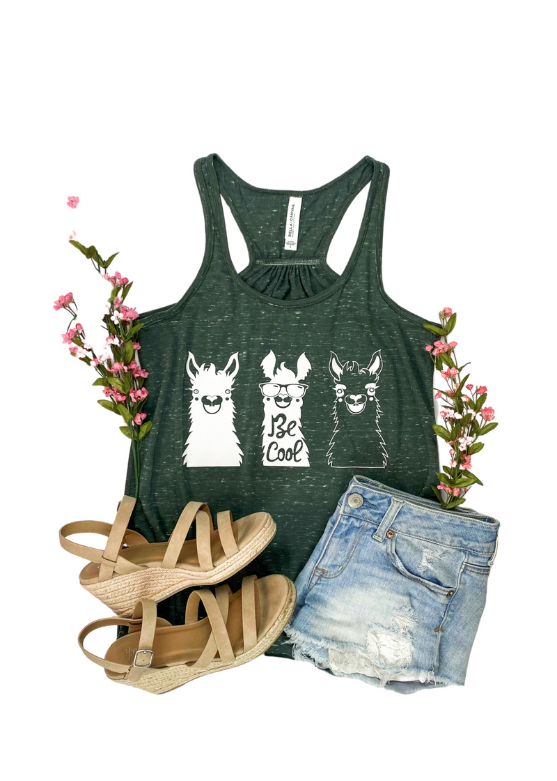 Marble Green Be Cool Llamas Tank Top