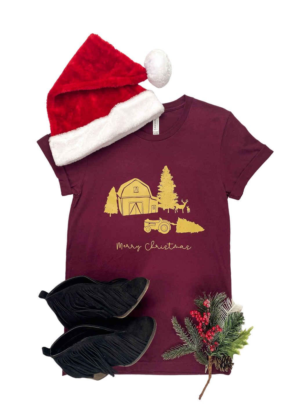 Maroon Merry Christmas Farm Short Sleeve Tee