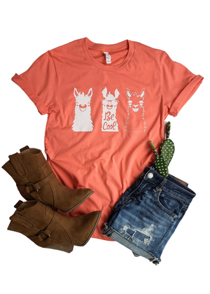 Coral Be Cool Llamas Short Sleeve Tee