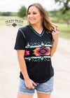 Aztec V Neck Short Sleeve Top