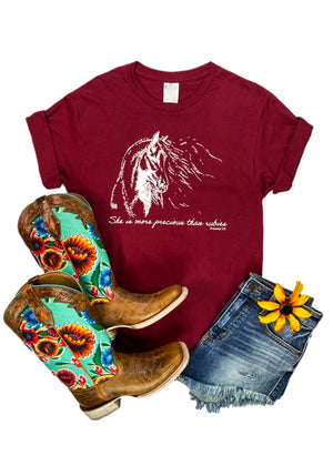 Wine colored tee with She is more precious than rubies Proverbs 3:15 in White Ink lettering and Horse Graphic