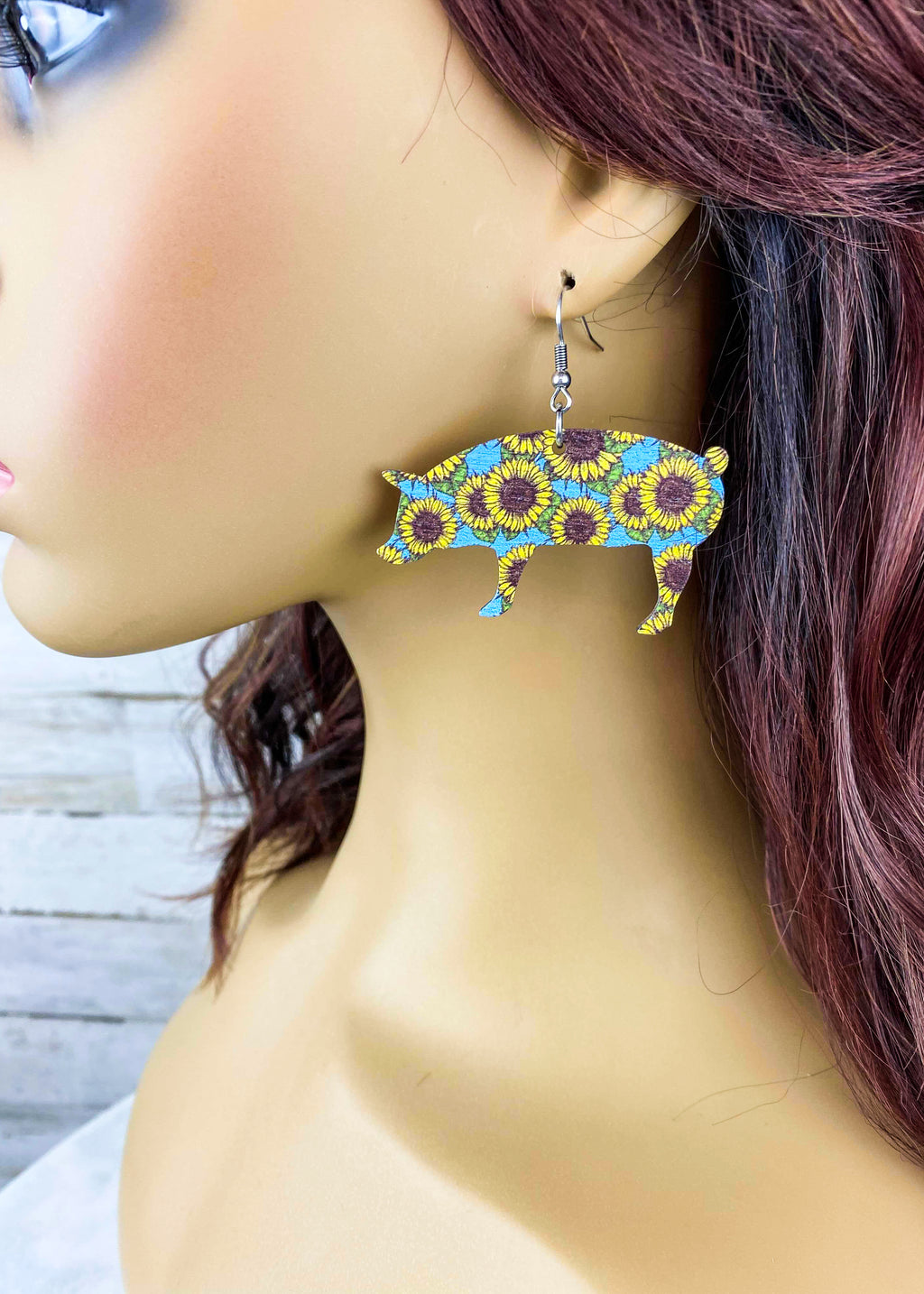 Wood Sunflower & Pig Earrings