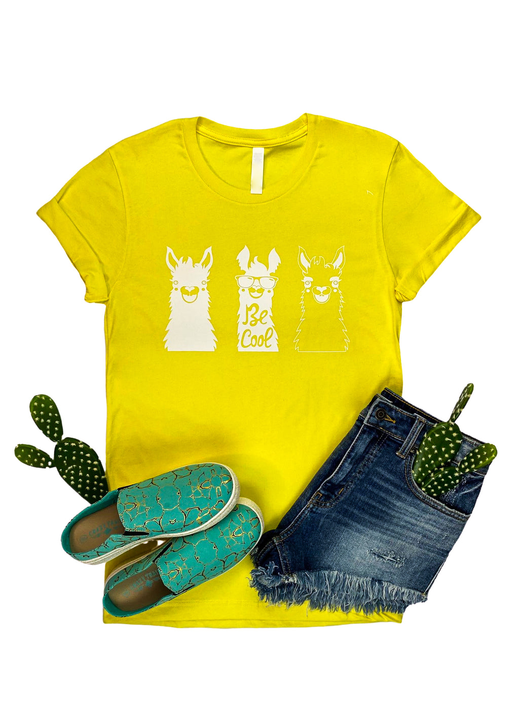 "Yellow Short Sleeve Tee with 3 Different Looking Llamas and ""Be Cool"" in White Ink in the center"