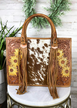 Yellow Sunflower & Cowhide Conceal Carry Handbag