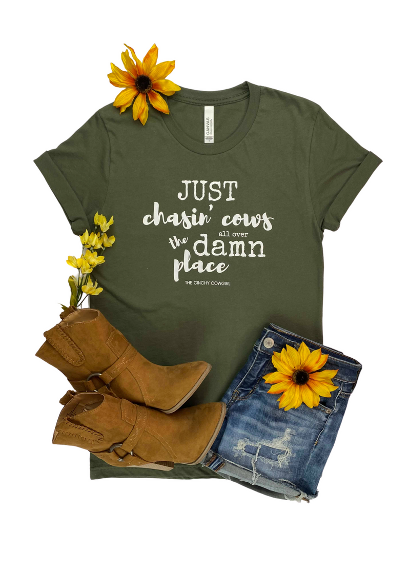 Army Green Just Chasin' Cows Short Sleeve Graphic Tee