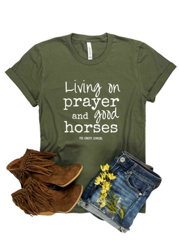 Army Green Living on Prayer Short Sleeve Graphic Tee