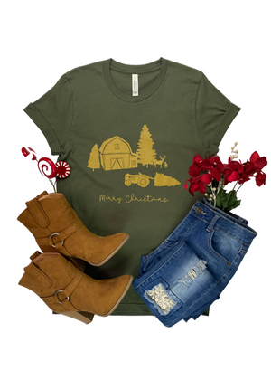 Army Green Merry Christmas Farm Short Sleeve Tee