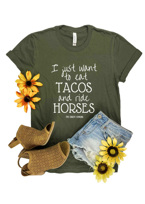 Army Green Eat Tacos & Ride Horses Short Sleeve Graphic Tee